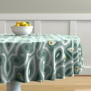 Round Tablecloth Broderie Ikat Geometric Eucalyptus Scale Green Cotton Sateen