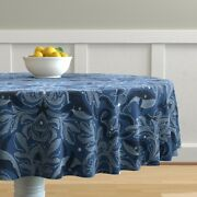 Round Tablecloth Nautical Damask Pattern Whales Vintage Stars Cotton Sateen