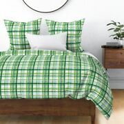 Irish Plaid Watercolor Mint Patricks Day Green Sateen Duvet Cover By Spoonflower