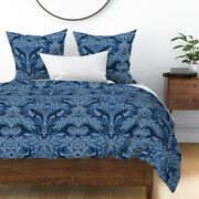 Nautical Damask Pattern Whales Vintage Stars Sateen Duvet Cover By Spoonflower