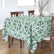 Tablecloth Broderie Ikat Geometric Eucalyptus Scale Green Moroccan Cotton Sateen