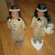 Vintage Native American Indian Dolls Man And Woman W/ Papoose 7.5 Plastic