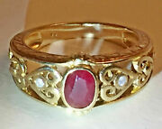 Stunning Heavy Ornate Vintage 9ct Yellow Gold Deep Red 0.5ct Ruby And Diamond Ring