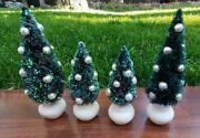 Set Of 4 Dept 56 Christmas Village Snow Glittered Decorated Trees