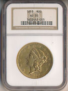 1853 20 Liberty Head Gold Double Eagle Ngc Certified Au 55 Free Shipping