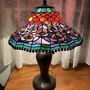 Vintage Dale Signed Stained Glass Peacock Table Lamp Shadeandnbsplocal Pick Up