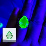 Sterling Large Pear Uranium Glass Ring Green Faceted 925 Silver