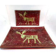 Lenox American By Design Mosaic Reindeer Plates 2 Accent Trinket Candle Holder