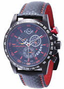 Gv2 By Gevril Menand039s 9903 Scuderia Black Dial Black Leather Day/date Wristwatch