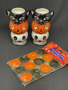 2 Sets Hallmark Stacking Votive / Tealight Candle Holders Halloween W/ Candles