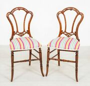 Victorian Stool Mahogany Seat Pair Victorian Accent Chairs Walnut Antique 1860