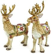 Fitz And Floyd Father Christmas Reindeer 12 Figure Candle Holder Set 2 Retired