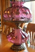 Antique Vintage Amber Pink Hurricane Gone With The Wind Lamp