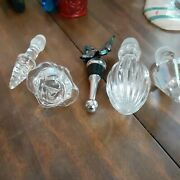 Antique Vintage Glass Crystal Stoppers Cut Molded Decanter Cruet Wine Lot Of 5