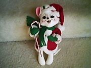 Annalee Christmas White Mouse With Candy Cane 12 In.
