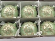 Lot 6 Czech Blown Glass Hand Decorated Beige Pearl Christmas Tree Ornaments
