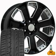 5660 Black And Chrome 22x9 Wheels And 285/45r22 Tires Fits Gmc Chevrolet Cadillac