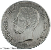Spain 5 Pesetas 1871 King Amadeo I Spanish 900 Silver Large Coin Excellent Z195