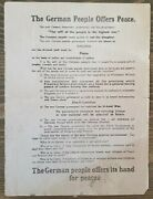 Original Wwi Oct 1918 German Peace Leaflet English And French Plane Drop Rare