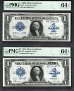 Lot Of Two Consecutive 1923 1 Silver Certificates Pmg 64 Epq Fr.237