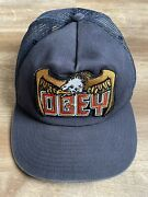 Obey Snapback Hat Blue Eagle Patch One Size Fits All