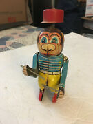 Vintage Rare Monkey Drummer Tin Wind Up Toy Made In Japan Works