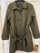 Nwt Talbots Quilted Long Coat Olive Green Plus Size 2x