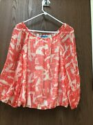 Alice + Olivia Red White Peasant Blouse Lined 100 Silk Waist Band Sz S New