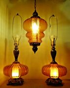 3 Vtg Mid Century Modern Amber Lamps 2 Table Lamps 1 Swag Lamp Matched Set Nice