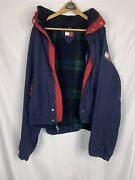 Rare Vintage Fleece Flannel Lined Spell Out Flag Jacket 90s Xl