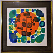 Edward Ripley Abstract Modern Lithograph Print Signed L/e 18/275 Framed 1960s
