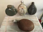 Vintage Military Canteen Water Bottle Flask Lot Collection One Has Bullet Holes