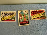 Original Vintage Travel Decal Lot 3 Memphis And Tennessee Hot Rod Rat Old Rare