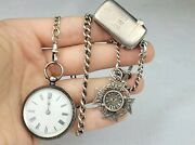 Antique Sterling Silver Pocket Watch Chain, Vesta, Dover College Fob And Watch