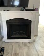 Electric Fireplace Refurbished With Hearth And Mantle White Wood
