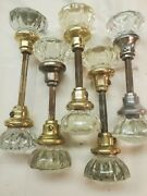 5 Pairs Antique Vintage 12 Point Crystal Glass And Brass Door Knobs