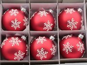 Lot 6 Czech Glass Hand Decorated White Snowflake Red Christmas Tree Ornaments