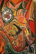 Art Oil Painting Original Abstract 3 Ft. X 2 Ft. Canvas Mixed Media Signed