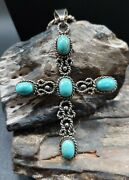 Vintage Mexico Sterling Silver Turquoise Cross Pendant Necklace Native Tribal...