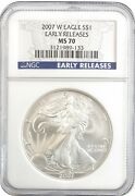 2007-w American Silver Eagle S1 Gem Uncirculated Ngc Ms70 - Early Releases