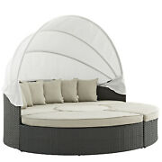 Modway Sojourn Outdoor Patio Sunbrella Sectional Canvas Beige Daybed With Canopy