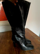 Women's Caressa Boots 6.5 Black Leather Mid Calf Ankle.