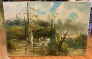 Vintage Fishermen In Florida Swamp Fishing Canoe Oil Painting By F.c. Young