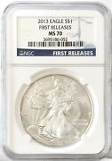2013 American Silver Eagle S1 Ngc Ms70 - First Releases Blue Label