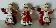 Mrs. Santa Claus Cooking Baker Christmas Tree Ornaments Lot Of 3 Read Nwt