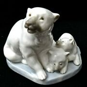 Lladro Polar Bear Family Porcelain Figurine 3.5x4x3, Mother And 2 Cubs, Retired