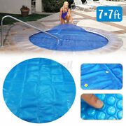 7'' Round Blue Above Ground Swimming Pool Hot Tub Cover For Winter Round Safety