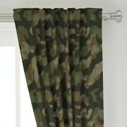 Splinter Camo Green + Camouflage Abstract 50 Wide Curtain Panel By Roostery