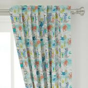 Otter Beach Baby Animal Blue White Nautical 50 Wide Curtain Panel By Roostery