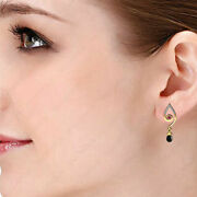 14k Solid Yellowrosewhite Gold Natural Diamond Onyx Ruby Earring Gift For Her